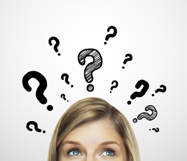thinking women with question mark on white background